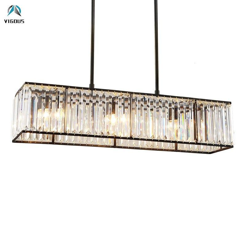 Américain Rétro Noir Métal E14 Led Pendentif Lumière Salle À Manger L85cm K9 Cristal Luminarias Droite Pendentif Lumière Réglable Lampe