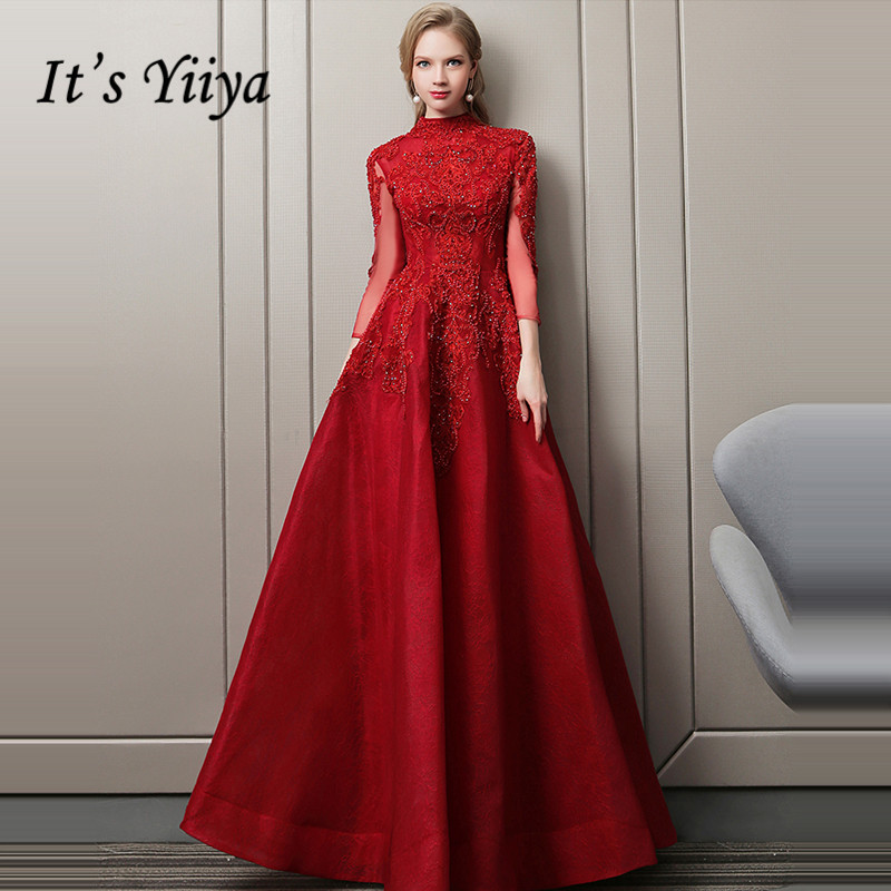 It's Yiiya Evening Dress 2019 Exquisite Beading Crystal Backless Wine Red Floor-length Formal Gowns LX1607 Robe De Soiree