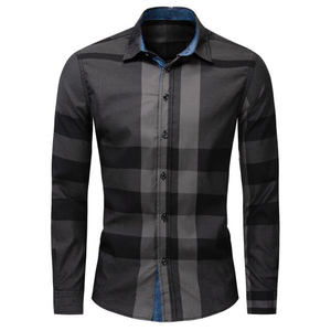 Image 5 - Camisa nueva informal de negocios de manga larga para hombre, camisa masculina de manga larga, de algodón a cuadros, 100%, de talla grande