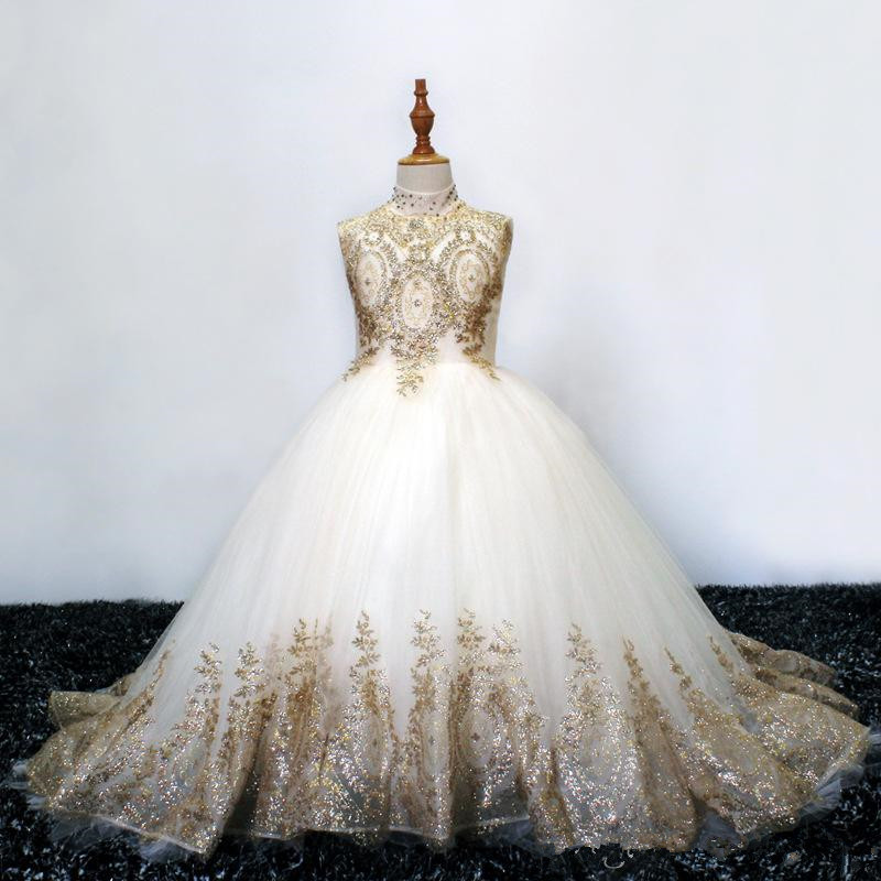 Elegant High Neck Lace A Line   Flower     Girl     Dresses   Tulle Gold Lace Applique Floor Length Gilrs 'Pageant Birthday Party   Dresses