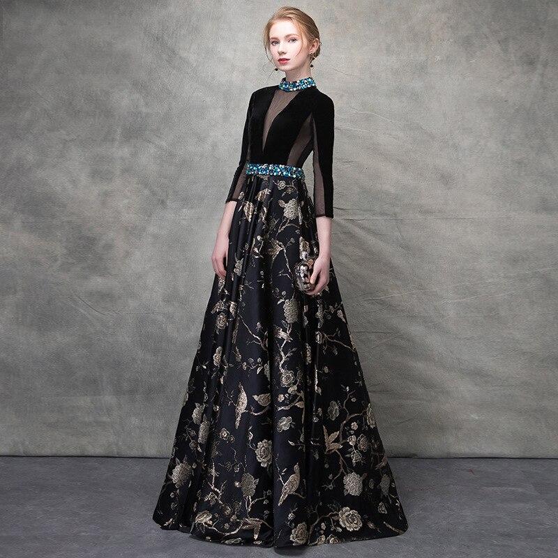 Luxe noir velours cristal perles dentelle robes De Festa dos nu a-ligne formelle robes De soirée rétro Floral bal robes De soirée