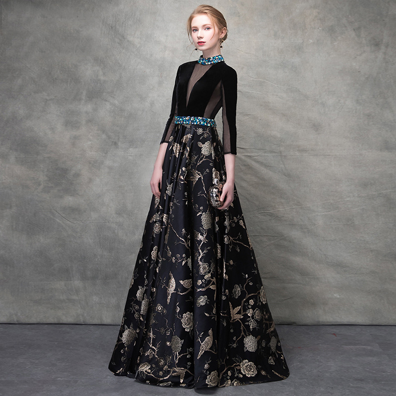 Luxury Black Velvet Crystal Beading Lace Vestidos De Festa Backless A-line Formal   Evening     Dresses   Retro Floral Prom Party Gowns