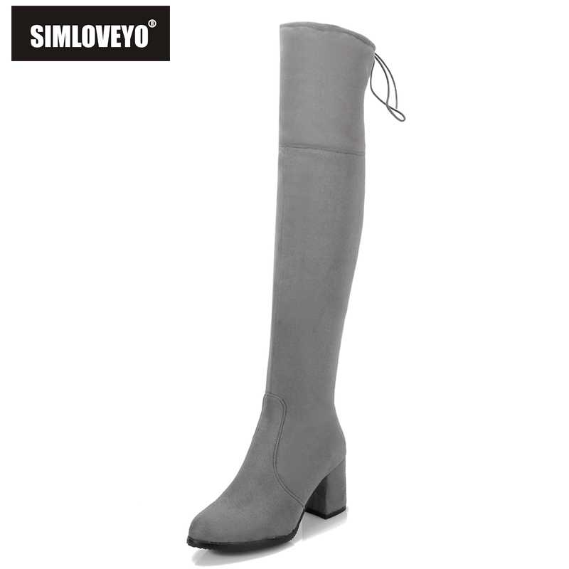 654aaf02b867 SIMLOVEYO Черный, серый цвет Для женщин s микро-замши высокие сапоги  блочный толстый