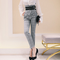 MENKAY 2018 Spring New Offic Lady Vintage Plaid Ankle Length Pants Cummerbunds High Waist Slim