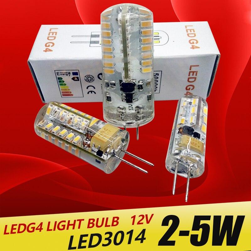Купить с кэшбэком Mini G4 LED Lamp 3014 LED Bulb 3W 5W AC DC 12V LED G4 SMD Light 360 Beam Angle Chandelier Lights Replace Halogen G4 Lamps