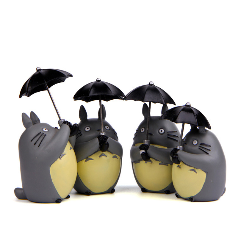 4pcs/lot 8.5cm Studio Ghibli  My Neighbor Totoro Anime Figure Toy PVC Umbrella Totoro Action Figure Collection Model Gift Home