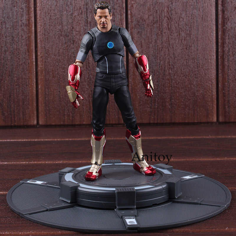 SH Figuarts Marvel Figurine Iron Man Tony Stark with Tony's Powerd Stage PVC Iron Man Collectible Figurines Model Toy