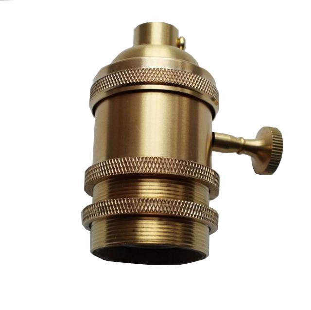 LBAH offre spéciale vente en gros Loft Vintage rétro Edison douille titulaire E27/UL/110 V/220 V bouton interrupteur en laiton lampe Base LED edison ampoule