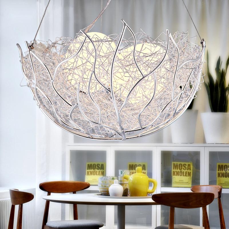 Nordic Led simplicity lamps Aluminum Restaurant Chandelier Bird Nest Lights Glass bedroom hanging lights living room