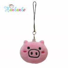 20pcs/lot  2inch Pink Emoji Pig Small Pendant Smiley Emoticon Soft Plush Toys Key&Bag Chain Phone Strap Promotion Gift