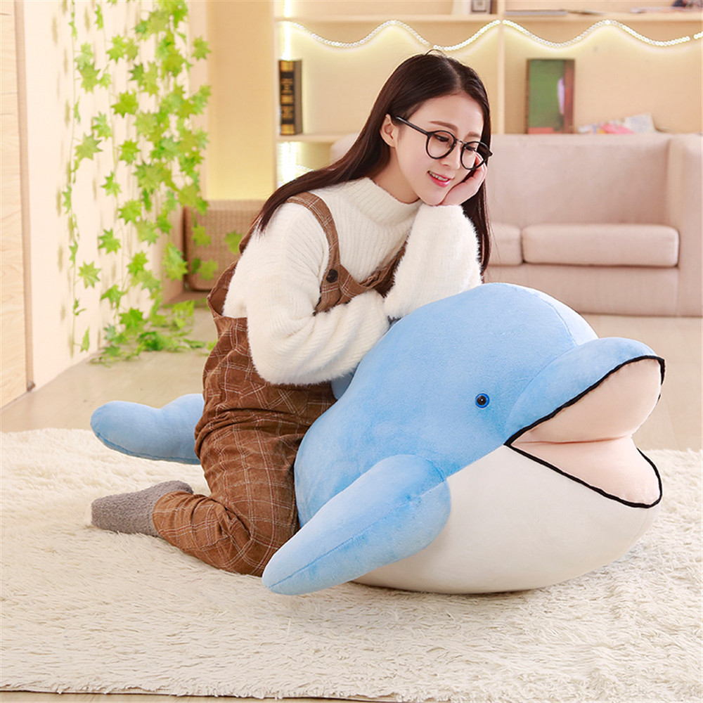 Fancytrader Giant Soft Dolphin Plush Toy Big Soft Stuffed Dolphin Animals Pillow Doll Baby Gift 120cm/100cm/80cm mr froger carcharodon megalodon model giant tooth shark sphyrna aquatic creatures wild animals zoo modeling plastic sea lift toy