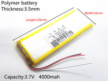 4000mAh 3.7V 3552136 (polymer lithium ion Battery Replacement Tablet Battery for tablet pc 7 inch MP3 MP4