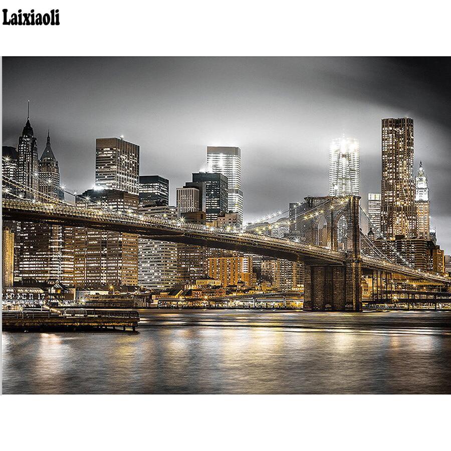 Полная квадратная круглая дрель 5D DIY Алмазная вышивка Нью Йорк ночь Алмазная Картина Вышивка крестом Стразы Мозаика Украшение