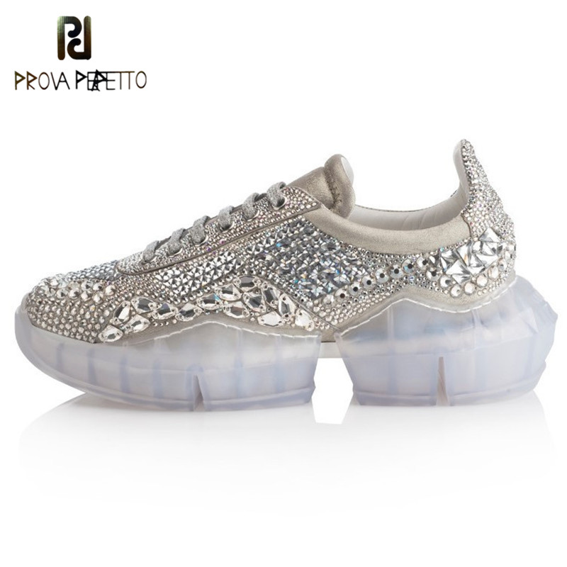 Prova Perfetto 2019 New Platform Sneakers Women Pointed Toe Rhinestone Diamond Crystal Transparent Bottom Casual Shoes