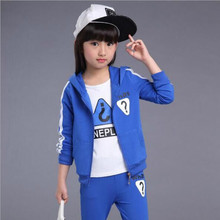 Hot 2016 Fall Fashion Children Clothing Set Girls cotton Splicing Twinset Clothes Kids Tracksuit Hooded Sport