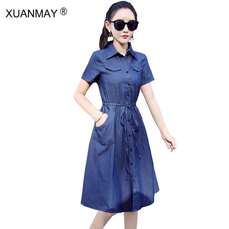 def0d3fd120b Stile lungo Light Blue abito Camicia delle donne del Vestito Casuale manica  Corta camicia di jeans Vestito 2018 Nuova Estate di Modo delle donne ...