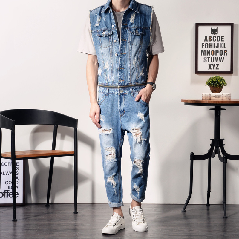 Mens Denim Jumpsuit Overalls Sleeveless Distressed Jeans Ripped Zipper Waist Separable Hip-Pop Casual Pants Jumpsuits MDB04 уровни и угломеры dewalt dw 088 k