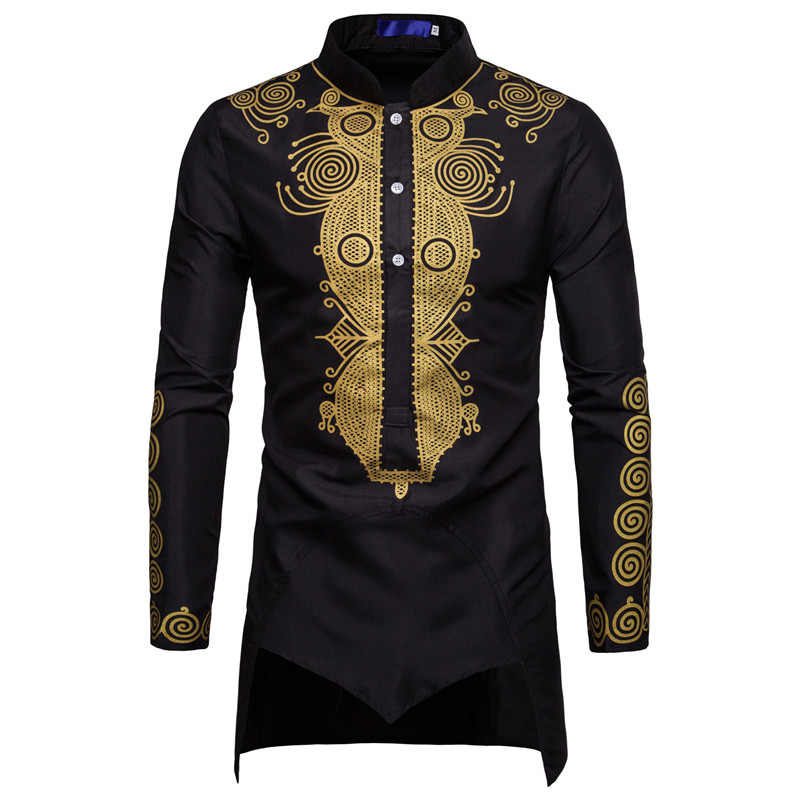 Image 3 - Men African Gold Polished Dashiki Turtleneck Half Button Shirt High Collar Asymmetrical Tailcoat Tunic Groom Top For Men 3XL-in Africa Clothing from Novelty & Special Use