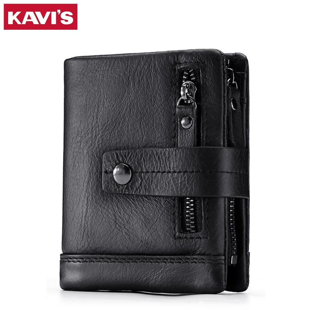 KAVIS Genuine Leather Wallet Men Small Portomonee Vallet PORTFOLIO Male Coin Purse With Pockets Slim Mini for Fashion Rfid Walet