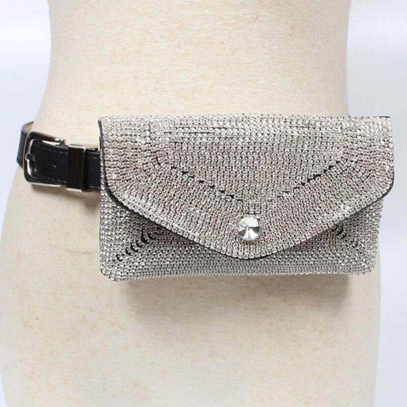 Women Waist Bag Ladies Diamonds Belt Bags Detachable PU Leather Belt Fanny Pack Female Mobile Coin Purse Handy Girl Waist Pack
