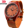 2016 Cheap Men's Wood Watches Brown Genuine Cowhide Leather Band With Wooden Case Wristwatches Luxury Brand For Male Clock Gift