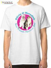 Olivia & Meredith Best Friends Purrrever Мужская белая футболка Футболки с принтом Футболка с принто