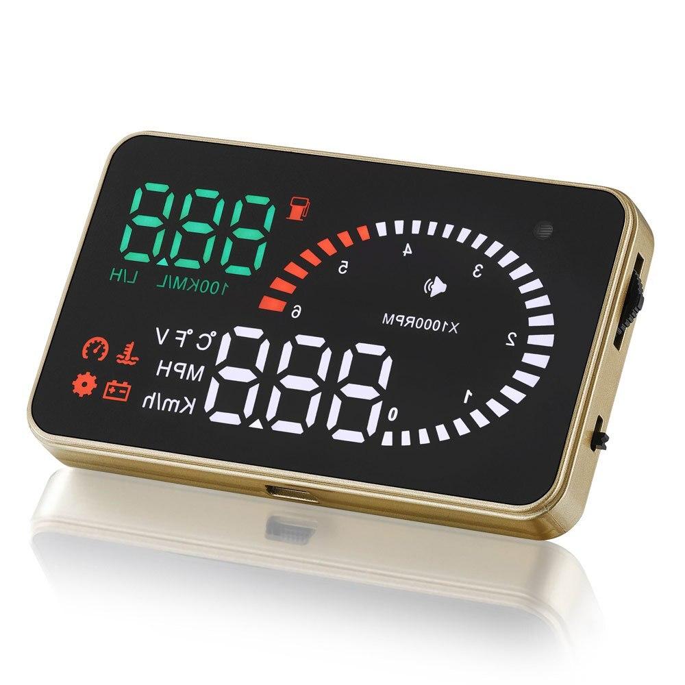 imágenes para Universal Car HUD Head Up Display OBD2 II X6 3 Pulgadas Proyector Sistema de Exceso de Velocidad Advertencia Parabrisas Auto Alarma de Voltaje Electrónico