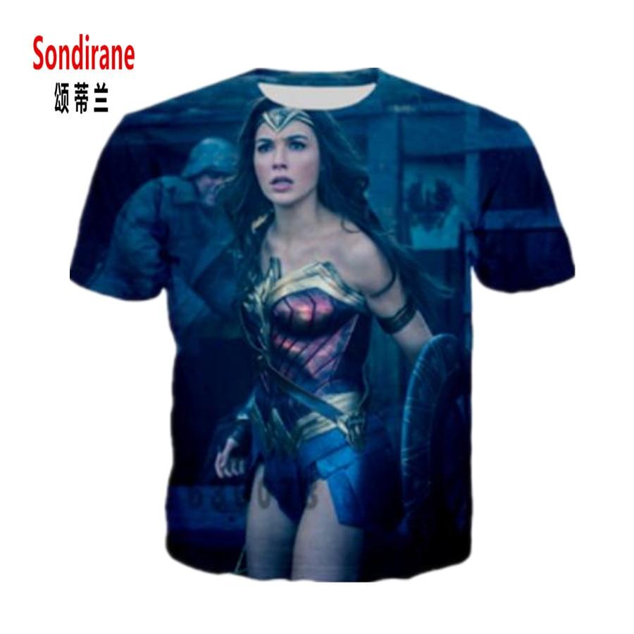 Sondirane Новая мода Ву Для мужчин S/Для мужчин Wonder Woman Фильм Смешной 3D принт Повседневное футболка Дизайн короткий рукав удобные футболки