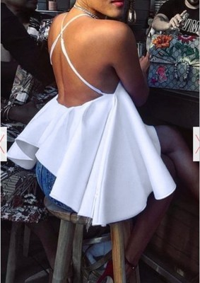 Women Sexy Halter White Big Ball Gown Hem Style Tank Tops Summer Club Backless High Low Hem Tees Top New Fashion Basic Clothes
