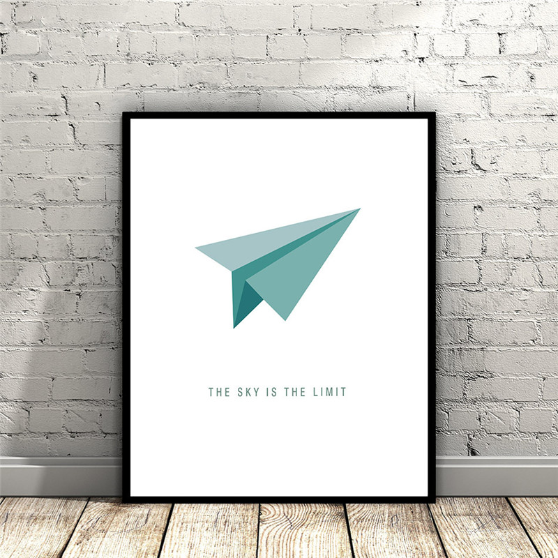 Canvas Painting Plane Poster-Print Office-Decor Abstract Picture-Art Wall Quote Living-Room