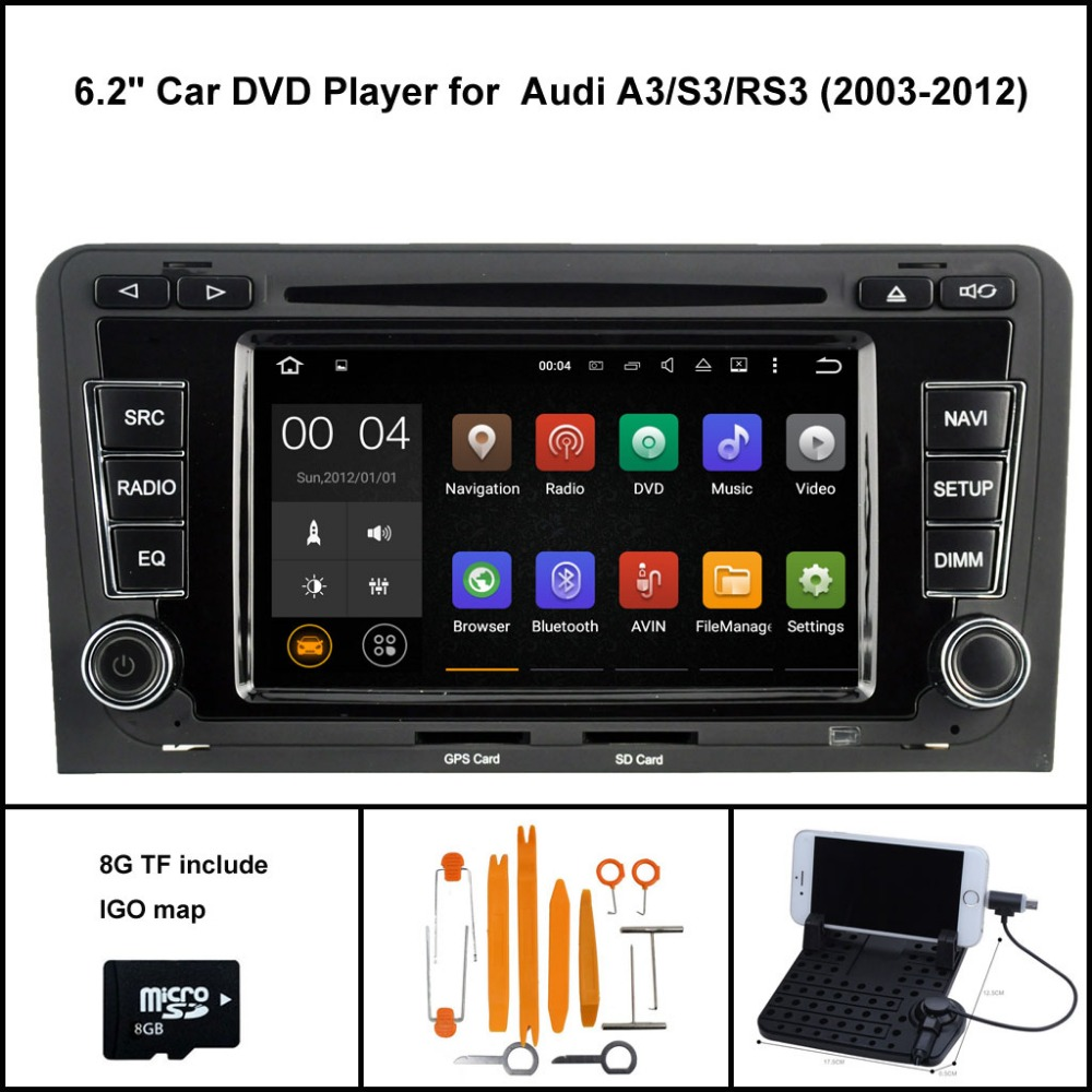 Quad Core Android 7.1 CAR RADIO for AUDI A3 S3 RS3 2003-2012 GPS SAT NAVI+CAPACTIVE SCREEN WIFI/3G DSP RDS 16GB flash