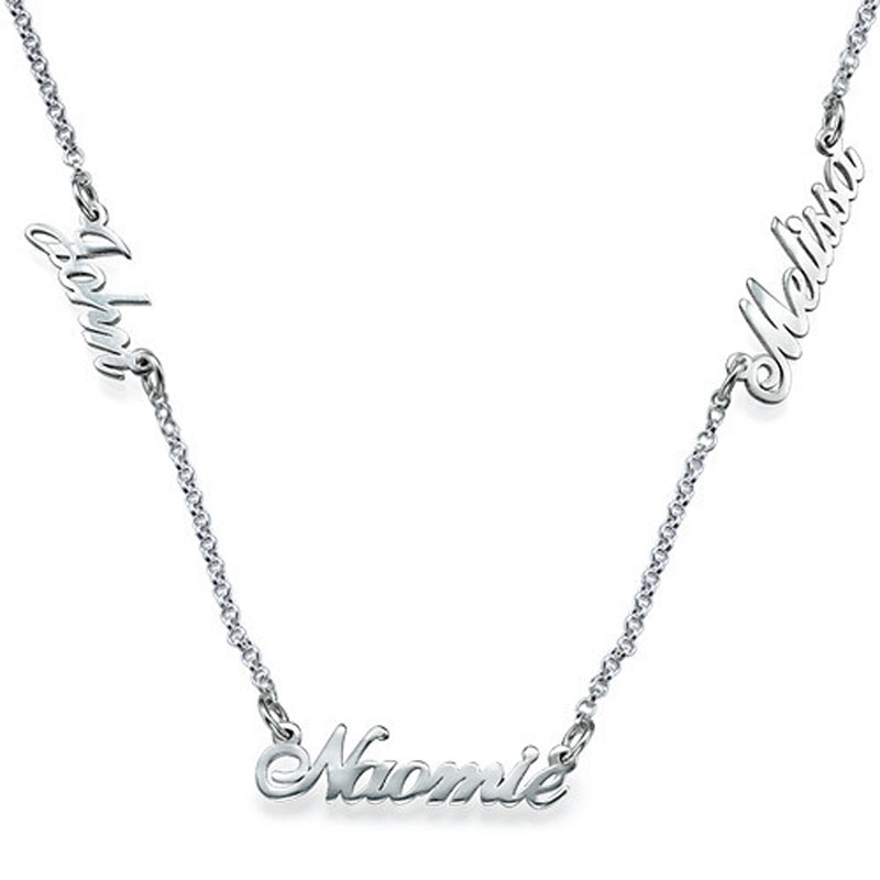 Wholesale Gold 3 Nameplate Necklace Personalized Name Sideway Pendent Custom Mini Name Design Fashion Jewelry Collar