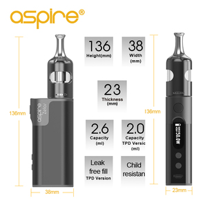 Image 3 - Электронные сигареты Aspire Zelos 50 Вт 2,0 Набор для вейпа MTL 2,6 мл атомайзер Nautilus 2S Ом катушки nautilus bvc испаритель