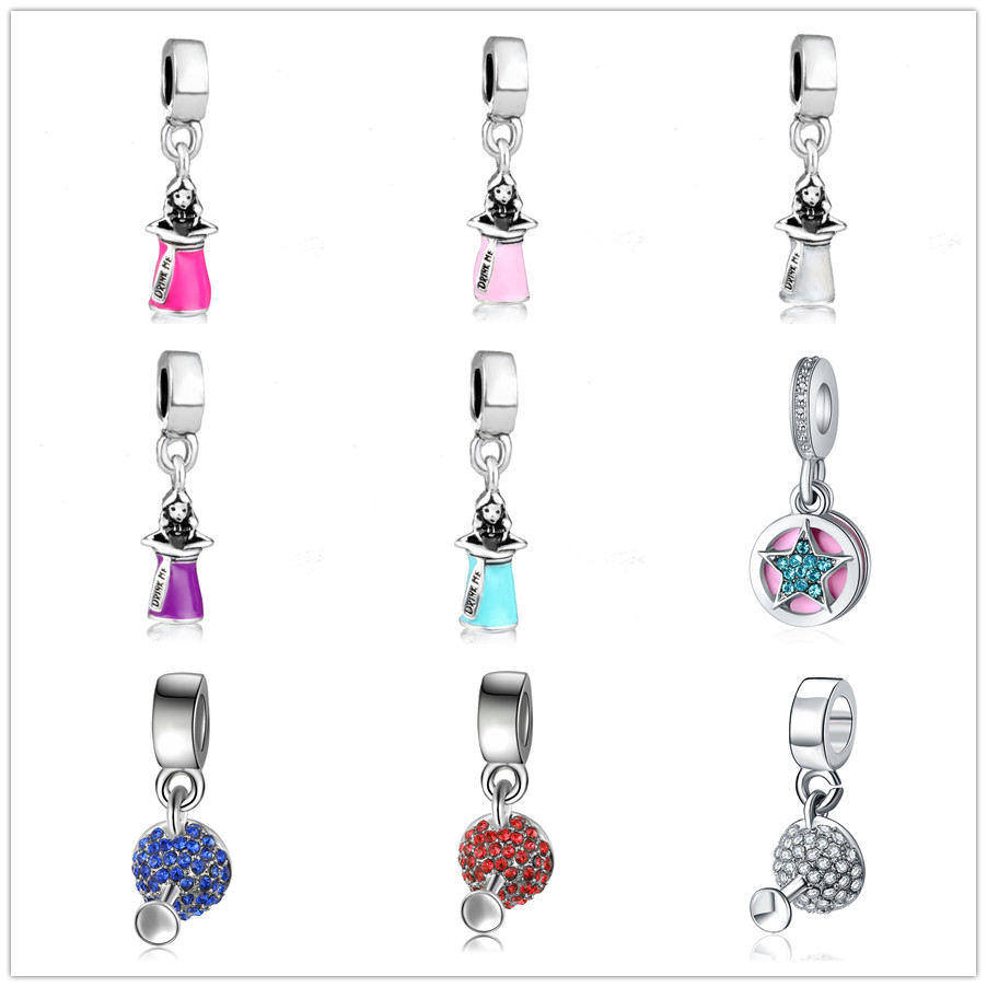 european 1pc colorful crystal silver bead girl star