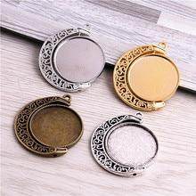 Lot de 10 pendentifs en métal, 4 couleurs, 25mm, mélange de métaux, Rotation de lune ronde, Double face, Cabochon, pour collier, D7009