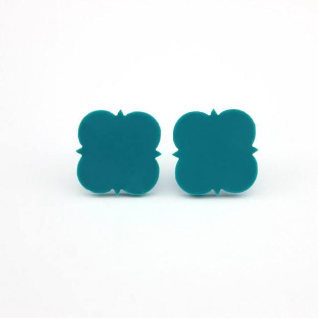 Let It Be Whole Hypoallergenic Vinyl Blank Monogram Stud Earrings Solid Black Quatrefoil 16mm Acrylic Post