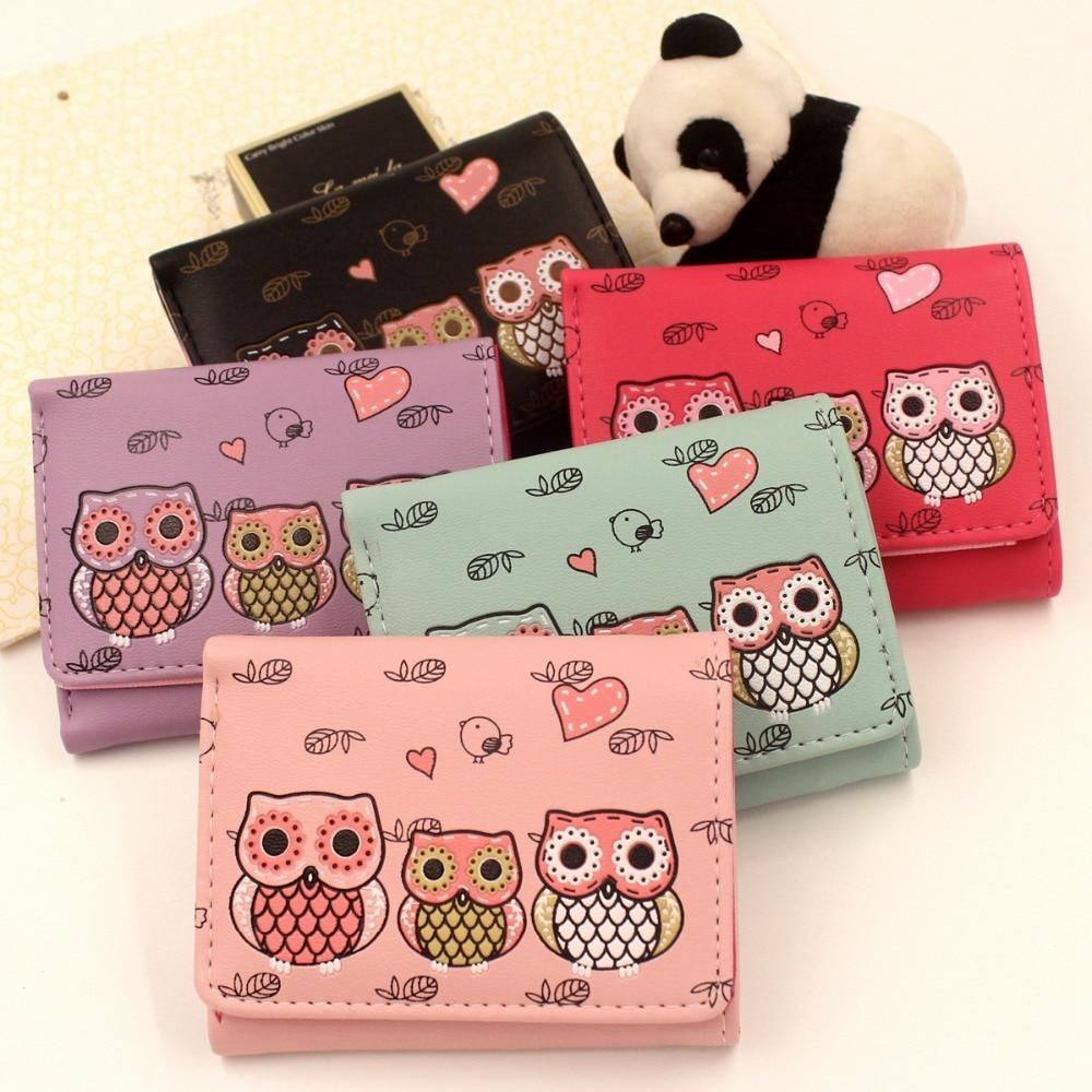 Women Wallets Female Owl Clutch Mini Wallet Bag Short Purse Print Cartoon OWL Hasp Purse Girls Ladies Coin Purse Card Holder 35#