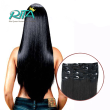 Malaysian Natural Hair Clip Extensions Black 100% Human Hair Clip In Extensions 70g-200g Clip In Human Hair Extensions