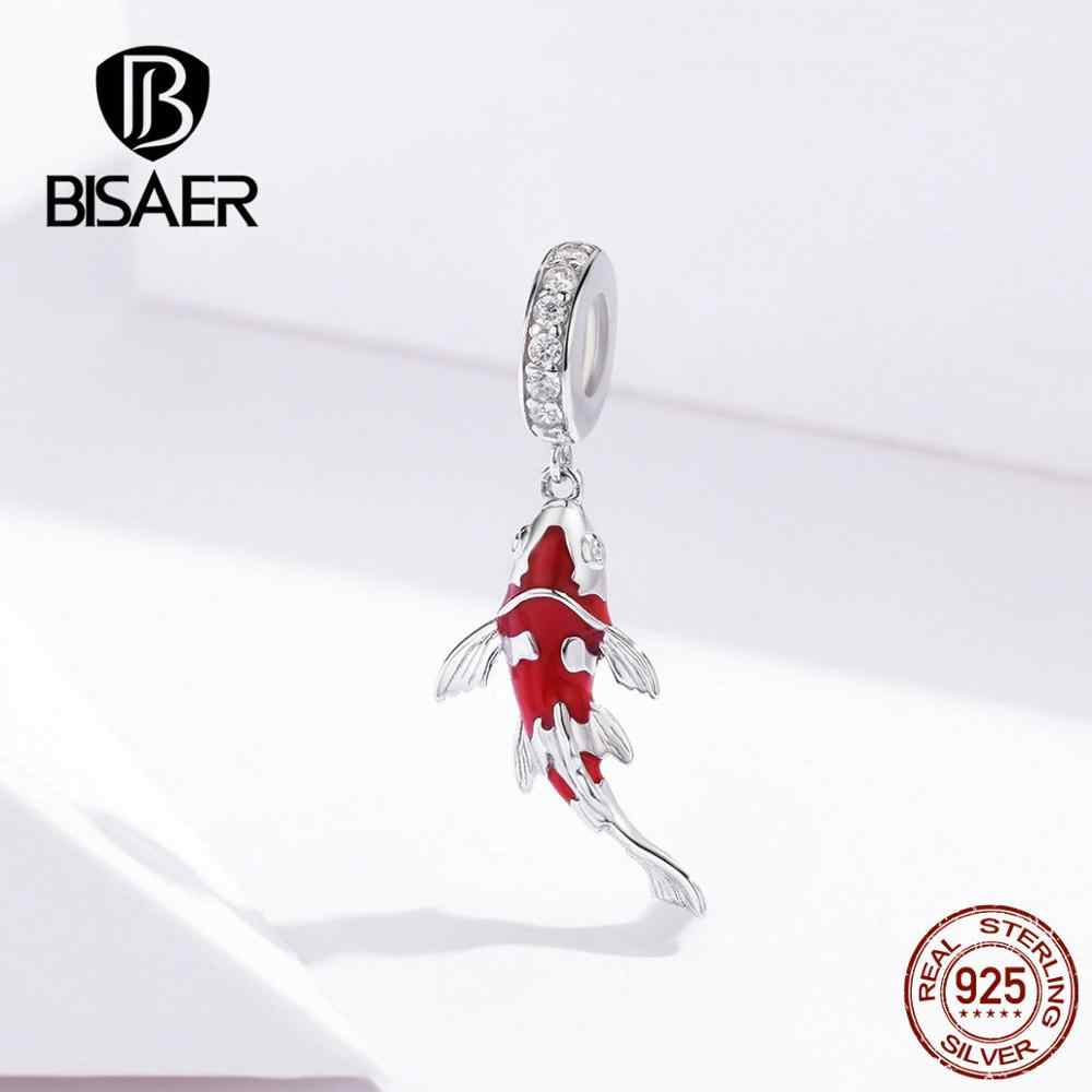 BISAER Lucky Charms 925 Sterling Silver Red Sorte Carpa Forma Charms Beads fit Pulseiras Namorada Prata 925 Jóias EFC085