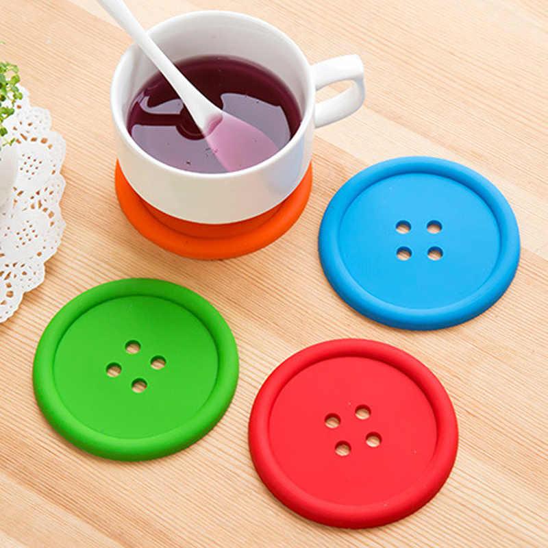 1 шт. силиконовые коврики под чашку круглые кнопки в форме Нескользящие изолированные салфетки коврик для чашки обеденный стол кофе термостойкий кухонный инструмент