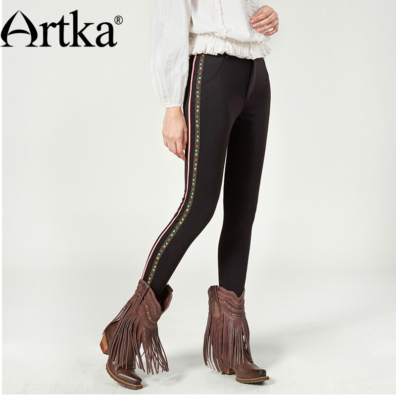 ARTKA Skinny Trousers For Women 2018 Autumn Winter Black   Pants   Women Patchwork Classic Trousers Pencil   Pants     Capris   KA10079Q