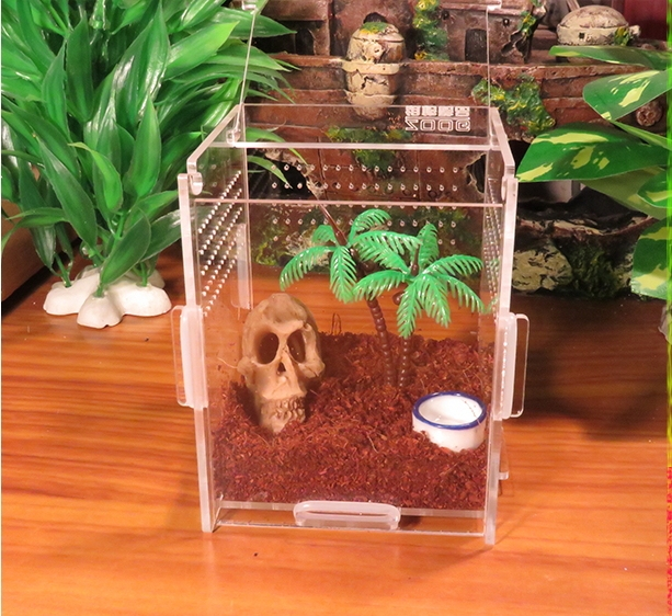 Crystal Acrylic pet cage,reptile,amphibian,insect, small animal habitat feeding box,10*10*20 cm