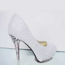 2018 Glitter Wedding Shoes Bridal Evening Party Crystal Red Bottom High Heels Women Shoes Sexy Women's Pumps Bridal Shoes