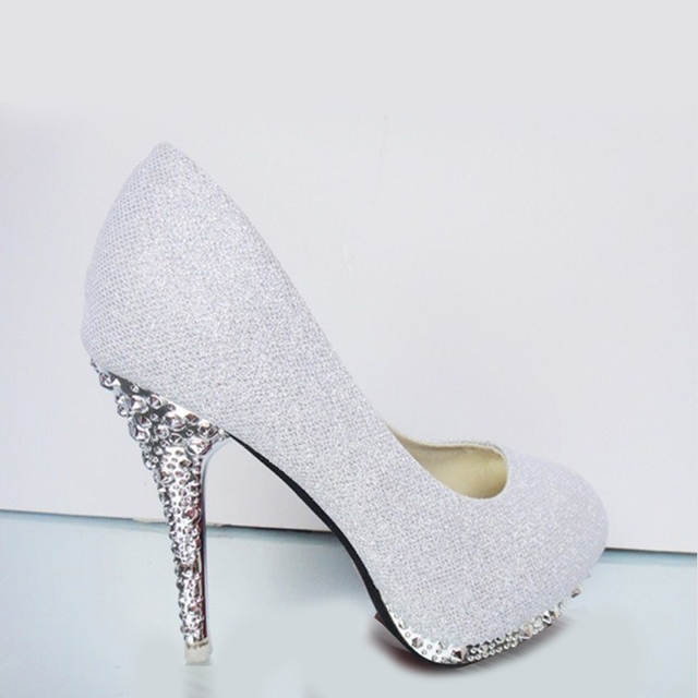 2018 Glitter Wedding Shoes Bridal Evening Party Crystal Red Bottom High  Heels Women Shoes Sexy Women s e1f15cb71