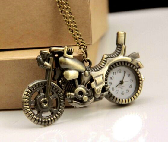 New Arrived Bronze Vintage Retro Motorcycle Motorbike Pocket Watch Necklace Pendant Women Watches Quartz Watches Unisex Relogio