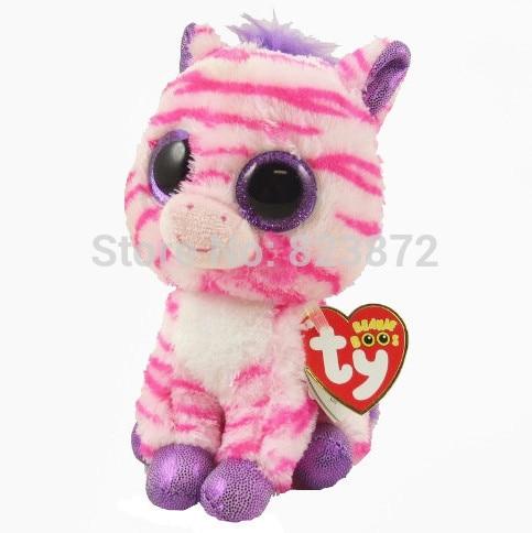 New Ty Beanie Boos Zazzy Pink Zebra Plush Animals Plush Toys 6