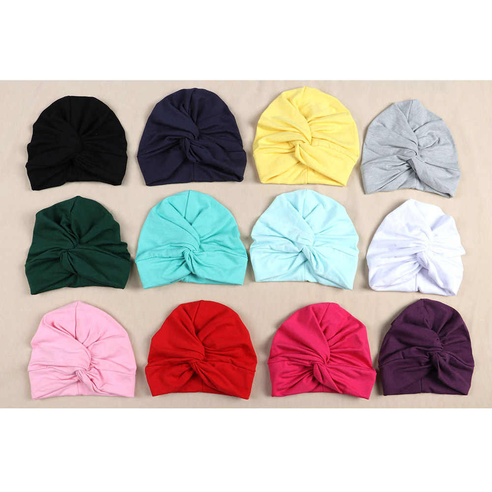 Baby Unisex Boys Girls Hats Cotton Soft Turban Twisted Knot Beanies Cap Hat
