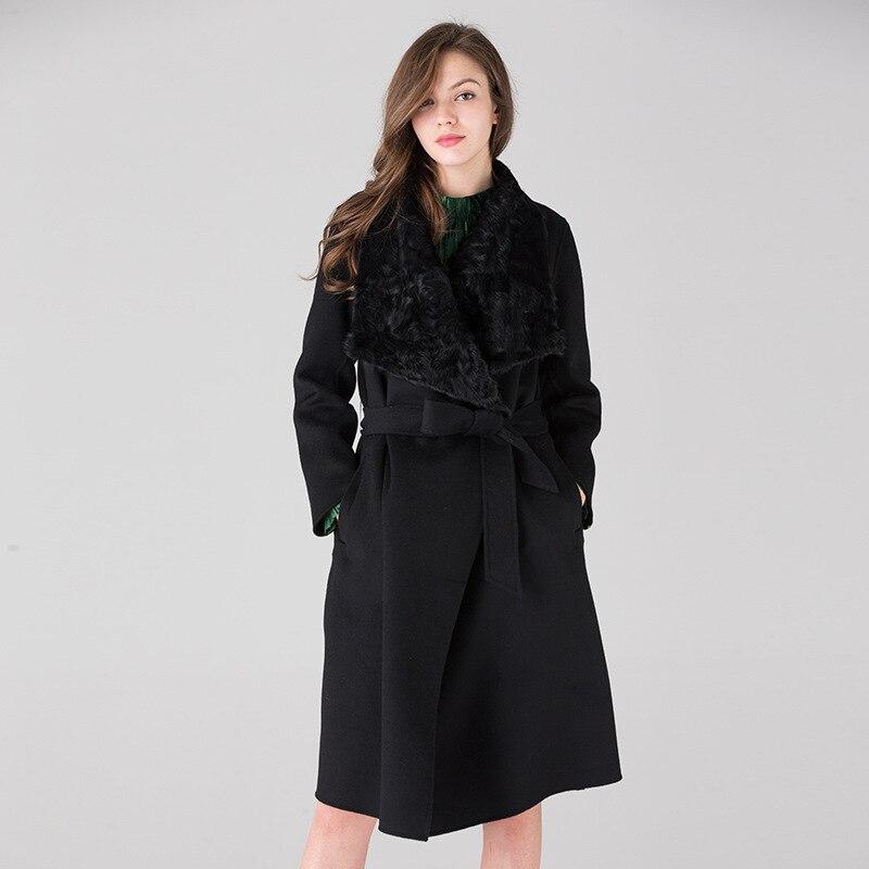 Tranchée Fourrure Femmes Laine face Femelle Mode Double 100Cachemire Longue De Haut Gamme black Naturel Apricot Veste Manteau Col D'hiver fvIbgy76Y