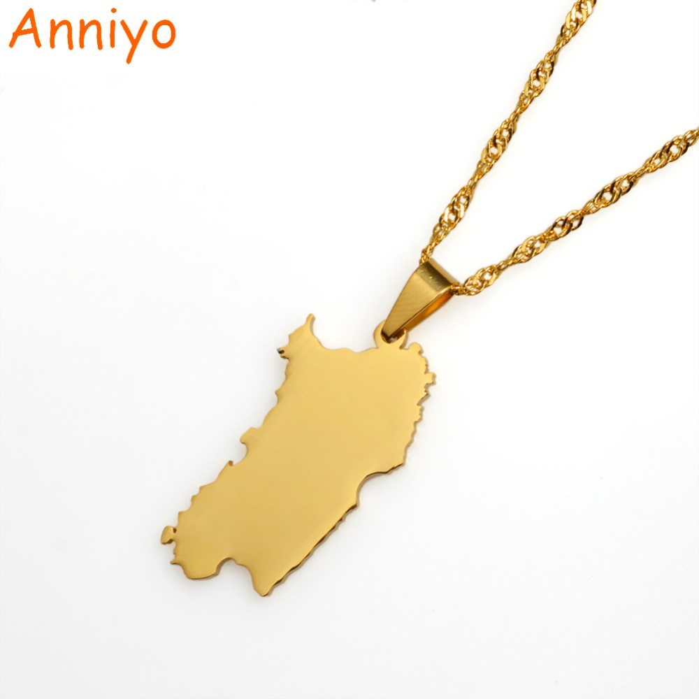 Anniyo Italy Sardinia Pendant and Necklace Gold Color Trendy Italian Sardegna/Sardaigne Jewelry Gifts #015021 anniyo qatar necklace and pendant for women girls silver color stainless steel gold color ethnic jewelry gifts 027621