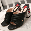 AIWEIYi Летняя Обувь Модная Обувь Высокой Пятки Женщин Тапочки Из Натуральной Кожи Сандалии Платформы Горный Хрусталь Дамы Флип-Флоп